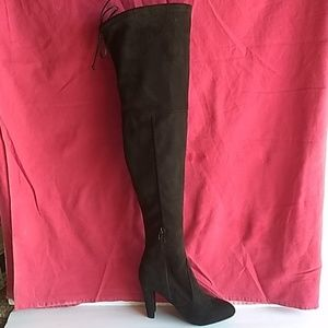 Wild Diva over the knee heeled suede boots
